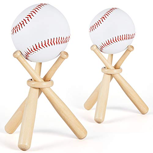 Maitys 2 Sets Wooden Baseball Stand Display Holder Includes 6 Mini Baseball Bats, 2 Wooden Circles for Baseball Players Fans