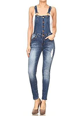K's more Woman's Juniors Fitted Distressed Ripped Denim Overalls