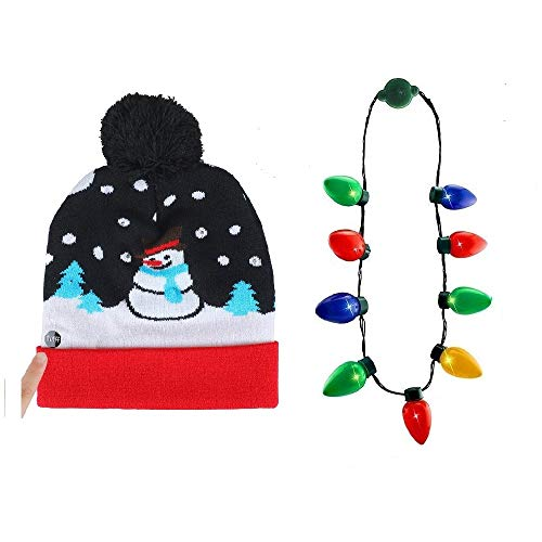 NEARTOP Christmas Xmas Light Up Bulb Necklace + Snowman Flashing Beanie Hat for Christmas Decorations