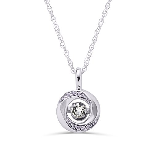 Boston Bay Diamonds 925 Sterling Silver 3/8 Tgw. Dancing White Sapphire April Birthstone Knot Pendant Necklace with 18