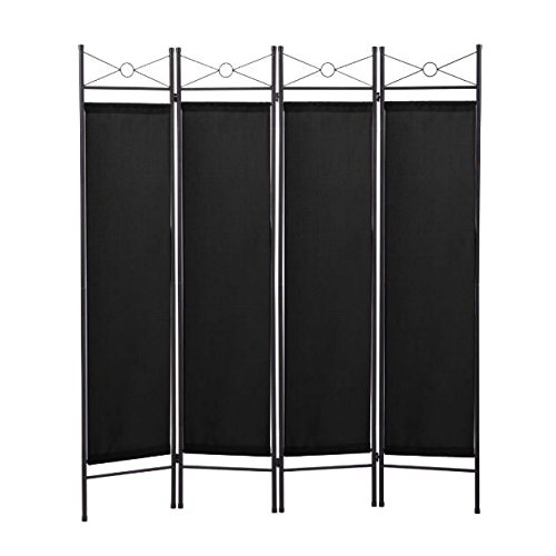 - Cypress Shop Folding Portable Black 4 Panel Room Divider Privacy Screen Partition Fabric Metal Frame