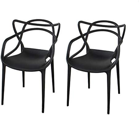 ジェネリックチェア チェアー カフェ 椅子 イス バーチェア ダイニングチェア 屋外用 INK-S101-BK-2SET スネーキー (ブラック)