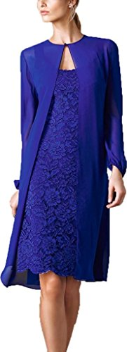 Dress Lace Short H With S The amp Women Blue D Of Royal Bride Mother Chiffon s Jacket XBXHq7U