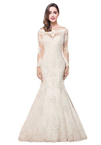 OYISHA 2017 Lace Mermaid Wedding Dress Open Back Lace up Bridal Gown WD166S Ivory 6 by OYISHA
