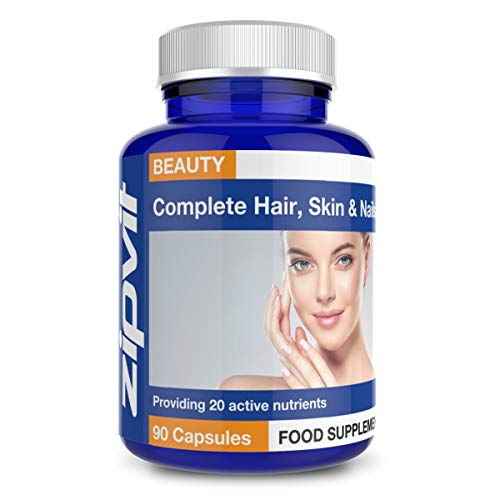 Hair, Skin and Nails Complete Supplement. Provides 20 Active Nutrients Including Biotin, Zinc, Copper and Vitamin C. 90…