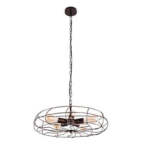 Lingkai Industrial Pendant Light 5-Light Chandelier Retro Ceiling Lighting Vintage Fan Style Hanging Light Fixture