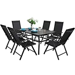 Garden and Outdoor MFSTUDIO 7PCS Outdoor Patio Dining Set, 6 Folding Reclining Chairs, 1 Rectangular Table with 1.57″ Umbrella Hole, Lawn Backyard Garden Furniture Sets, Black patio dining sets