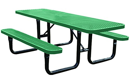 8' Rectangular Thermoplastic-Coated Metal SuperSaver Commercial Picnic Table - ADA 2-Chair Capacity - Portable/Surface-Mount - Green (Picnic And Table Metal Chairs)