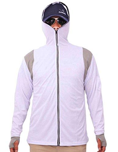 Geval Men's Bamboo Fiber Long Sleeve Fishing Shirts Full Zip with Hood S ()