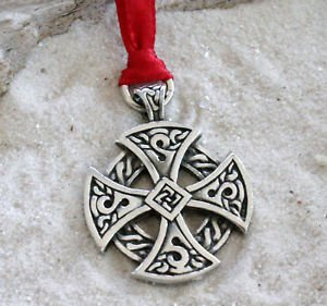 Pewter Solar Cross Celtic Irish Druid Christmas Ornament Holiday Decoration (Celtic Cross Christmas Ornament)