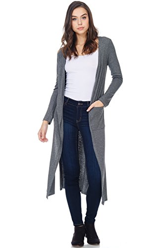 A+D Womens Casual Ribbed Long Duster Cardigan W Slit & Pocket (Charcoal, Small)