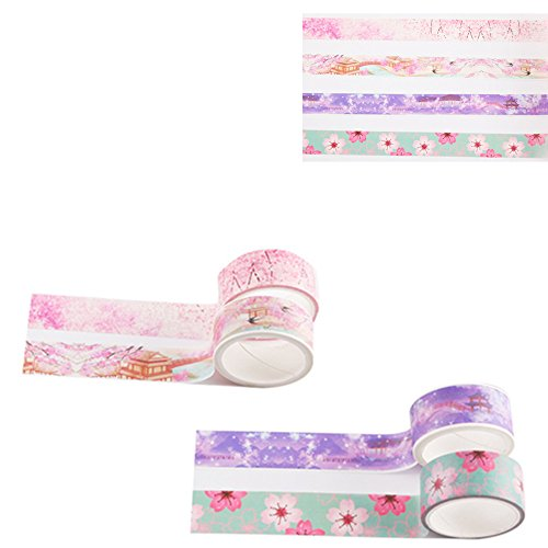Washi Tape, 4 Rolls Cherry Blossom Masking Tape Decorative Adhesive Tape Sticky Paper Tape for DIY, Decorative Craft, Gift Wrapping, Scrapbook, Nordic,