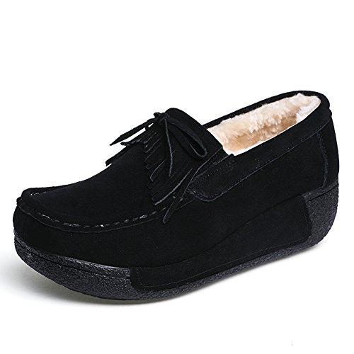 Velluto Nero Più Mocassini comode Pelle Moda SUO Donna Guida da Loafers 1 Z Scarpe Scamosciata in S6OTwwx