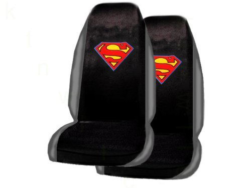 A Set of 2 Universal Fit Superman Classic Red and Yellow Shield Seat Covers