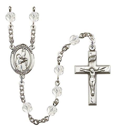April Birth Month Prayer Bead Rosary with Saint Bernadette Centerpiece, 19 Inch