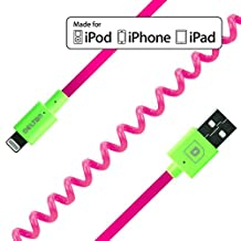 Delton Apple Certified Lightning To USB Sync and Charge Coiled Cable For iPhone 6,6s,6 Plus, 5/5s 5Se iPad/iPod (4 Ft Cable-Pink) Retail Packaging