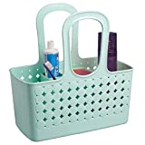 InterDesign Orbz Plastic Bathroom Shower Tote, Small Divided College Dorm Caddy for Shampoo, Conditioner, Soap, Cosmetics, Beauty Products, 11.75' x 6' x 12', Mint Green