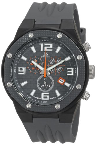 Joshua & Sons Men's JS62GY Black Multifunction Swiss Quartz Watch with Gray Dial and Gray Silicone Strap