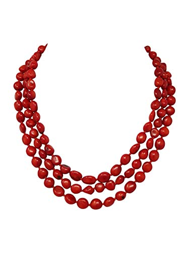 TreasureBay FAB Three Rows Natural Red Coral Necklace, Women's Coral Jewellery