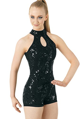 Balera Biketard Girls One Piece For Dance Womens Lace And Sequin Sleeveless Costume Black Adult (Children's Dance Costumes For Competition)