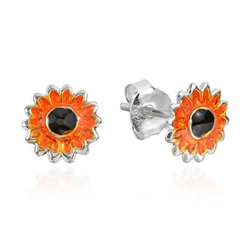 Petite Orange Sunflower .925 Sterling Silver Stud Earrings