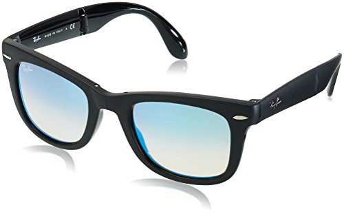 Ray-Ban Folding Wayfarer - Matte Black Frame Mirror Gradient Blue Lenses 50mm - Wayfarer Polarized Folding Classic