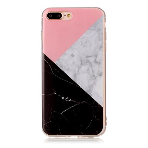 "Crisant Dreifarbiger Marmor Drucken Design weich Silikon TPU schutzhülle Hülle für Apple iPhone 7 Plus 5.5"" (5,5''),Premium Handy Tasche Schutz Case Cover Crystal Bumper Schale für Apple iPhone 7 Plus"
