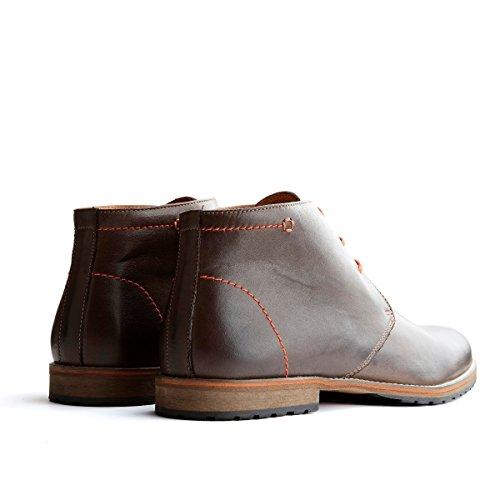 Travelin Liverpool Leder Chukka Boots | Schnürhalbschuhe Herren | Freizeitschuhe Hochzeitschuhe | Business Schuhe Anzugschuhe | Braun/Grau/Cognac Dark Brown