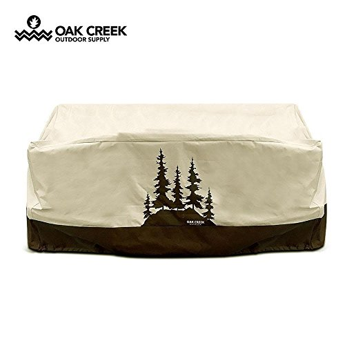 terproof Outdoor Love Seat Cover with Padded Handles, Air Vents, Click-Close Straps, and Elastic Hem Toggle Cord | Made of Heavy Duty 600D Oxford Fabric with PVC Coating (Creek Oxford)