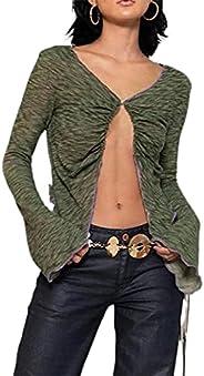 Y2K Clothes Women and Teen Girls Short Sleeve Button Down Tie Dye E-Girl Crop Top Fashion Y2K Shirts Streetwea