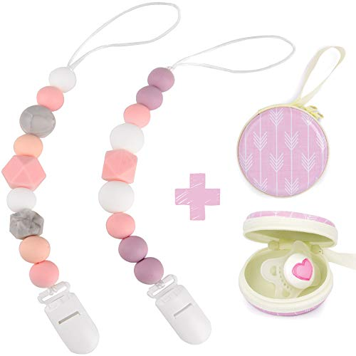 - Silicone Pacifier Clip by Dodo Babies Pack of 2 + Pacifier Case, Premium Teething Bead for Girls Modern Designs Universal Holder Leash for Pacifiers, Teething Toy or Soothie, Baby Shower Gift Set