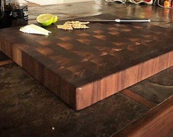 (End Grain Walnut Butcher Block Wood Cutting Board: 16