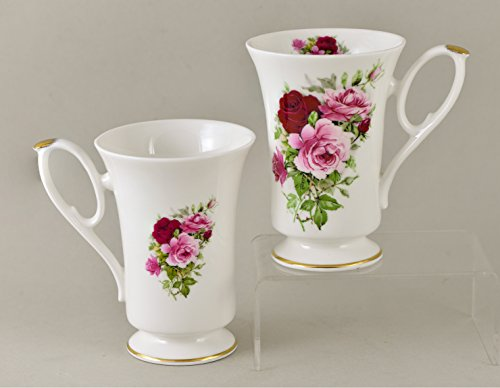 Summertime Rose Bone China - SUMMERTIME ROSE Pedestal Mug, Set of 2 - Fine English Bone China