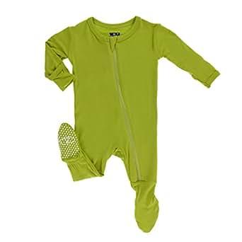 KicKee Pants Little Boys Basic Footie with Zipper - Meadow, 0 - 3 Months