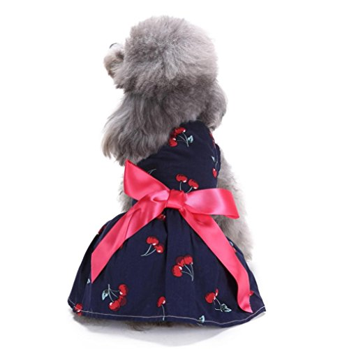 DEESEE(TM) Dog Puppy Sweetie Strawberry Pet Clothes for Dog Dress Sundress Shirts (M, Navy (Rock Star Sweetie Girls Costumes)