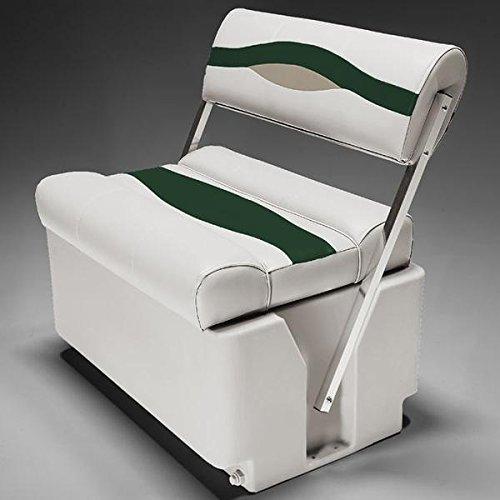 DeckMate Premium Pontoon Flip Flop Seats (Ivory/Green/Tan) ()