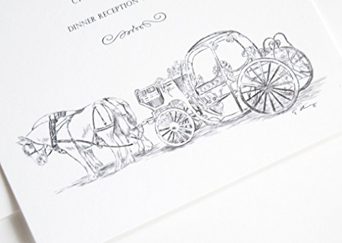Fairytale Wedding, Cinderella's Carriage, Disney Inspired Invitations Package (Sold in sets of 10 Invitations, RSVP Cards and Envelopes)