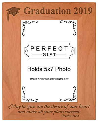 Christian Photo - Christian Graduation 2019 May He Make All Your Plans Succeed Christian Gifts for Grad Natural Wood Engraved 5x7 Portrait Picture Frame Wood