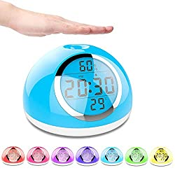 Sunrise Alarm Clock, Kids Alarm Clock, [2018 New] Wake-Up Light Digital Clock 6 Nature Sounds with Gesture Sensing and Snooze Function for Bedrooms, Kids, Heavy Sleepers (White)