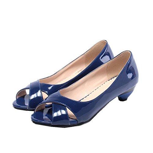 AalarDom Mujer Sin cordones Peep Mini Tacón Charol Sólido Sandalias de vestir Azul