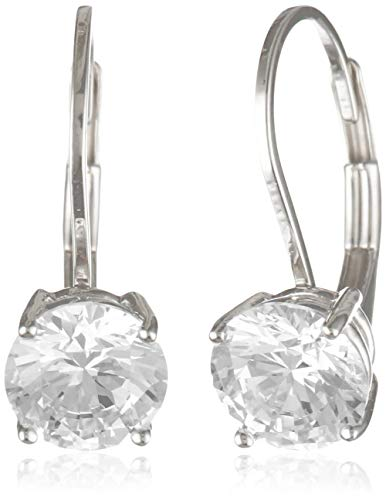 Amazon Essentials Platinum Plated Sterling Silver Round Cut Cubic Zirconia Leverback Earrings (6.5mm)