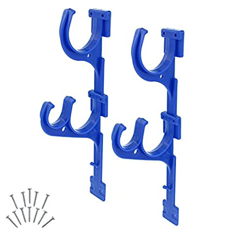 U.S. Pool Supply Set of 2 Plastic Pool Hangers for Telescopic Poles - Store Poles with Nets, Vacuums, Hoses & - Pole Hangers