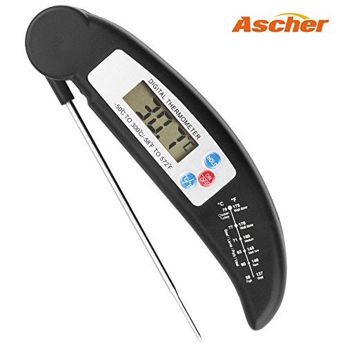 Ascher Küchenthermometer / Digital LCD Haushaltsthermometer/ Digitales Küchenthermometer Einstichthermometer für Kochen, BBQ, Steak, Braten, Lebensmittel (Schwarz)
