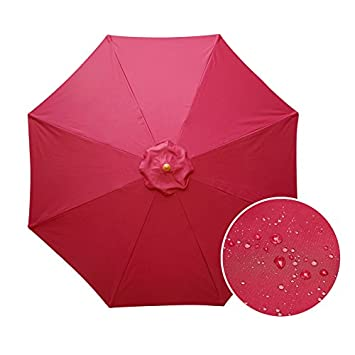 Aok Garden 9ft Wooden Market Umbrella W Double Pulley Polyester with PA Coating Sunshade Burgundy