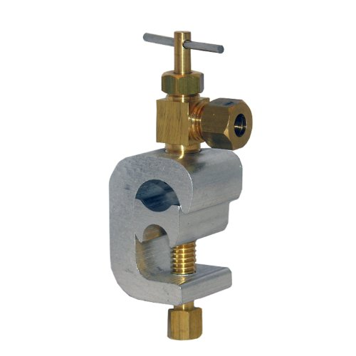 (LASCO 17-0651 1/4-Inch Compression Outlet C-Clamp Style Brass Saddle Needle Valve)