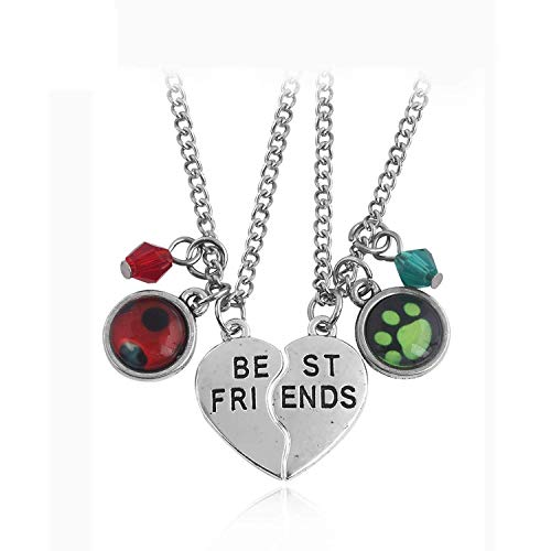 Welcometoo Perfect Choice Nice Style New Miraculous Ladybug Lover Necklaces Cat Noir Logo Pendants Heart Best Friends Letter Crystal Boy Girl Boy Keyring Gift,N ()
