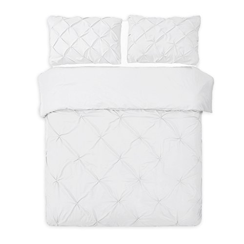 Word of Dream Pinch Pleat Microfiber Duvet Cover Set 2 PC, Twin, White ()
