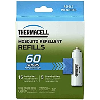 Thermacell R-5 Mosquito Repeller Refill, 60 Hour Pack (15 Repellent Mats and 5 Butane Cartridges)