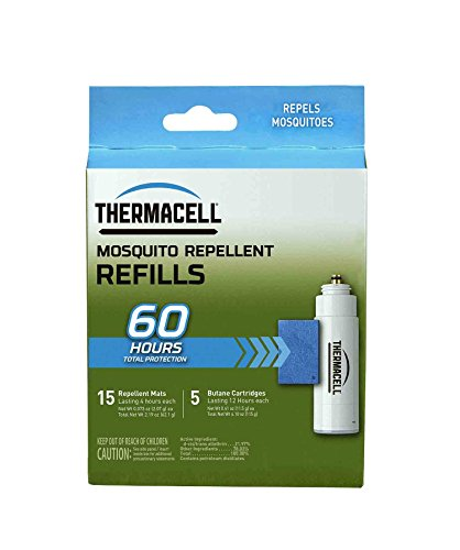 Thermacell R-5 Mosquito Repeller Refill, 60 Hour Pack (15 Repellent Mats and 5 Fuel - Thermacell Cartridges Butane