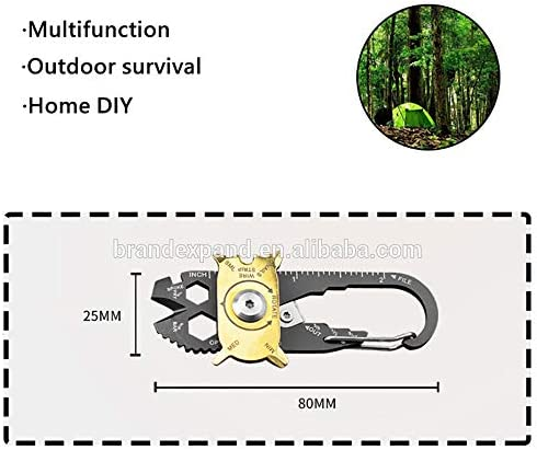 20 in 1 Caribiner Survival Utility Mini Multi-Tool for Camping Hiking and EDC Biking